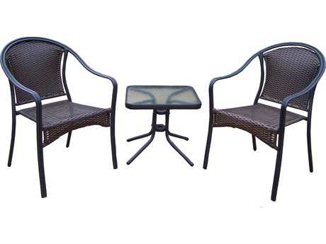 Oakland Living Tuscany Aluminum Wicker 3 Piece Chat Set PatioLiving