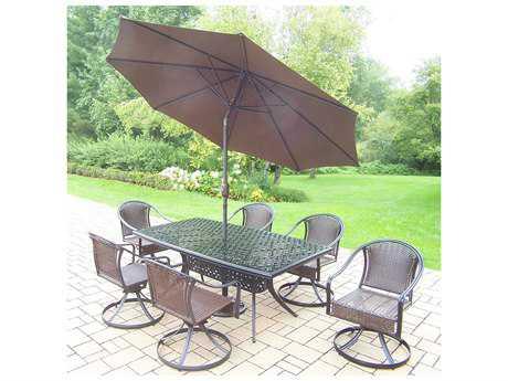 Oakland Living Tuscany Aluminum Wicker 9 Piece Dining Set with Umbrella