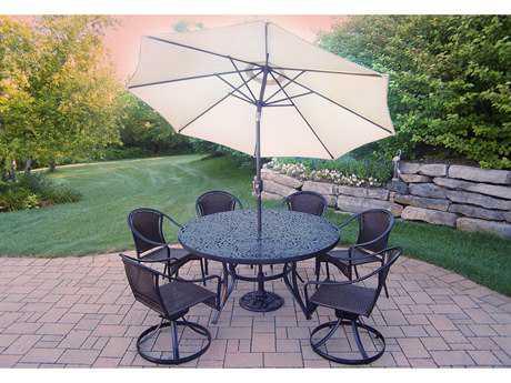 Oakland Living Tuscany Cast Aluminum Wicker 9-Piece Dining Set with Umbrella