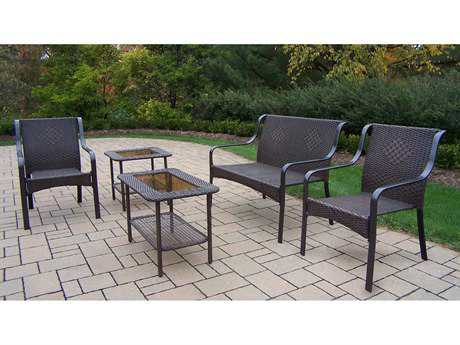 Oakland Living Tuscany Steel Wicker 5-Piece Lounge Set