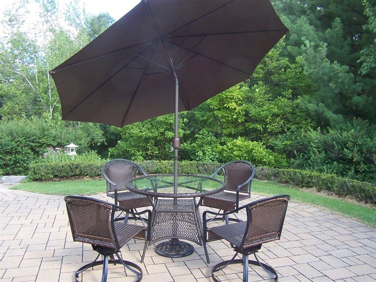 Oakland Living Tuscany Steel Wicker 7-Piece Dining Set PatioLiving