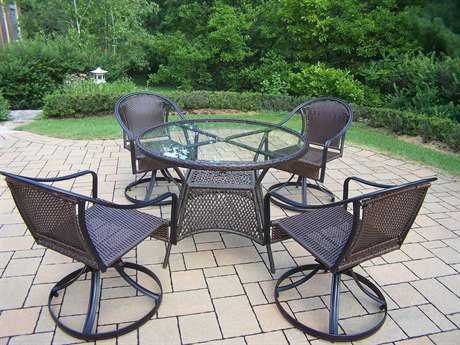 Oakland Living Tuscany Steel Wicker 7-Piece Dining Set