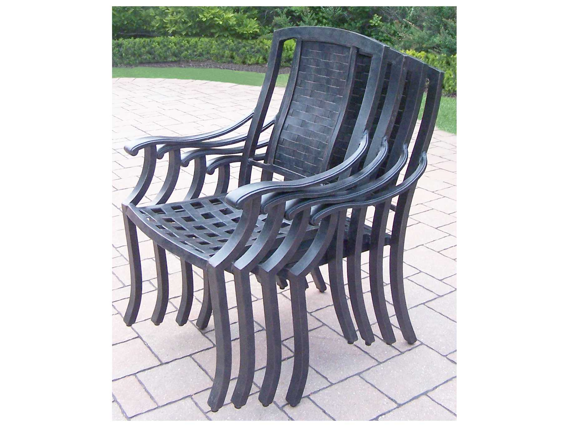 Oakland Living Vanguard Aluminum Stackable High Back Chairs Pack Of 4 Ol7815c4mc