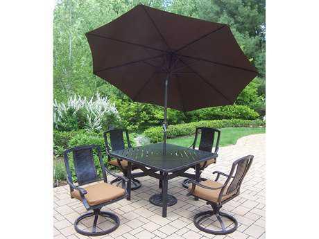 Oakland Living Vanguard Aluminum 7-Piece Swivel Rocker Dining Set with Umbrella
