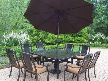 Oakland Living Vanguard Aluminum 11-Piece Dining Set with Umbrella