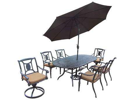Oakland Living Victoria Aluminum 9-Piece Dining Set with Umbrella