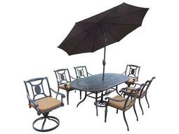 Victoria Aluminum 9-Piece Dining Set with Umbrella
