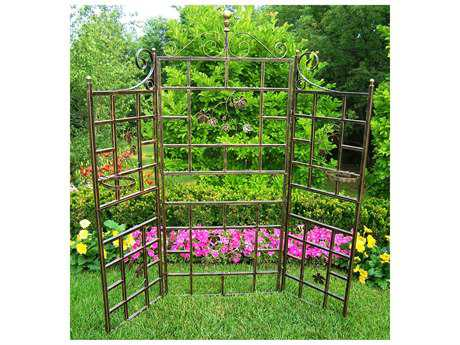 Oakland Living Vineyards Cast Iron Patio Screen 3 Pc. in Hammer Tone Brown