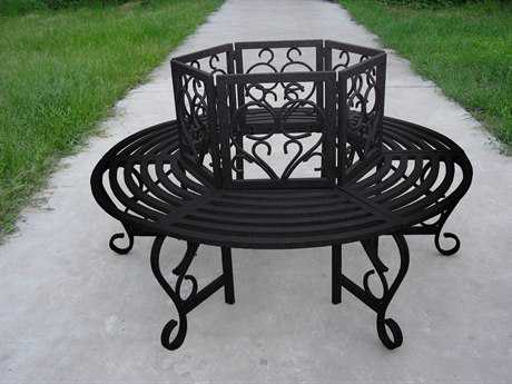 Oakland Living Wrought Iron Scroll Tree Bench in Hammer Tone Brown