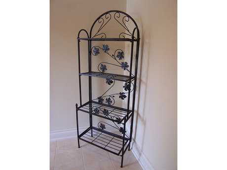 Oakland Living Wrought Iron Bakers Rack Sun Valley in Black