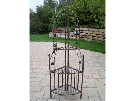 Oakland Living Wrought Iron Corner Shelf Plant Stand in Antique Bronze