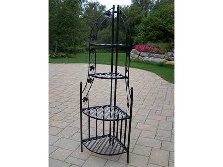 Oakland Living Wrought Iron Corner Shelf Plant Stand in Black