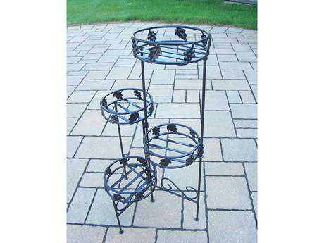 Oakland Living Wrought Iron Foldable Plant Stand w-4 Pot Holders in Black