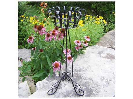Oakland Living Wrought Iron Magnolia Plant Stand in Black