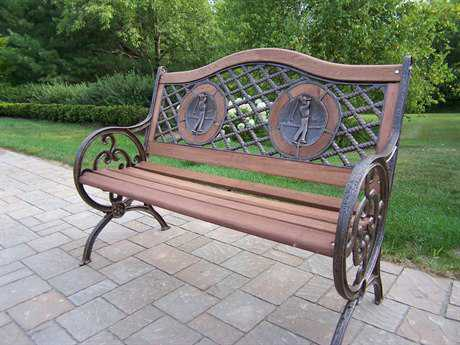 Oakland Living Cast Iron Double Golfer Bench in Antique Bronze