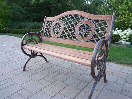 Oakland Living Cast Iron Double Rose Bench in Antique Bronze PatioLiving