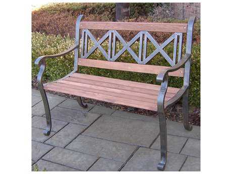 Oakland Living Tubular Iron Triple Cross Bench in Antique Bronze PatioLiving