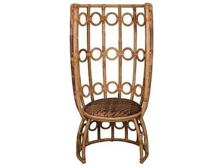 Oggetti Marble / Rattan / Mother of Pearl Rattan High Back Accent Chair OGG94IKJUL001
