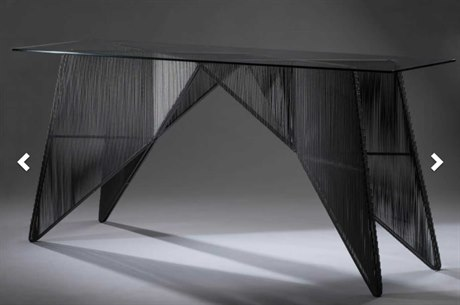 Oggetti Schema Glass / Black 77''W x 24''D Rectangular Console Table OGG49SCHCNSBGL