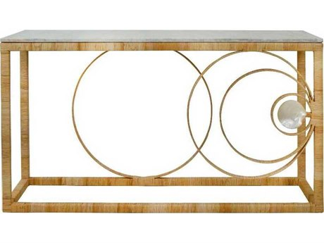 Oggetti Ito Kish La Union Marble / Rattan / Mother of Pearl 61''W x 20''D Rectangular Console Table