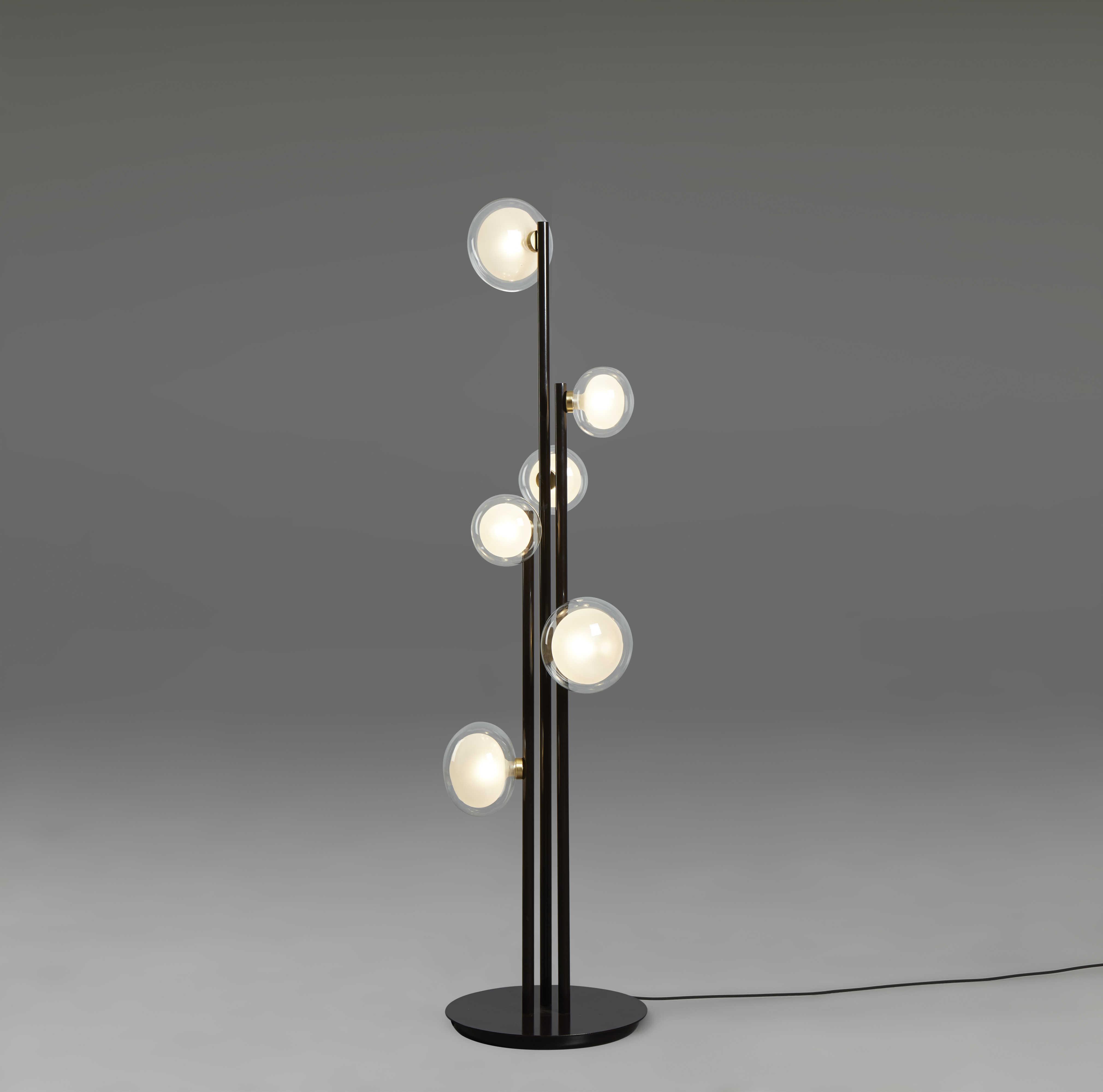 Oggetti Tooy La Br Black Six Light Led Floor Lamp