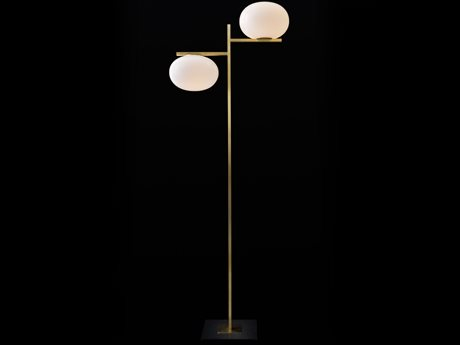 Oluce Alba Satin Brass / Anthracite Floor Lamp