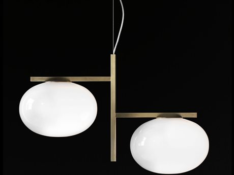 Oluce Alba Satin Brass / Opaline 24'' Wide Pendant OE468