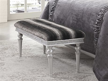 Aico Furniture Michael Amini Melrose Plaza Dove Non-Storage Bed Bench (OPEN BOX)
