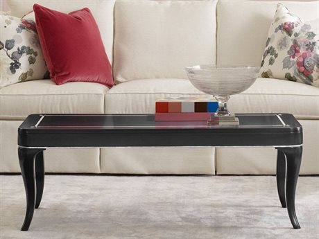 Hooker Furniture Cynthia Rowley Black with Mother of Pearl Inlay 52''L x 24''W Rectangular Flirt Cocktail Table (OPEN BOX) OBX158680110BLK1OPENBOX
