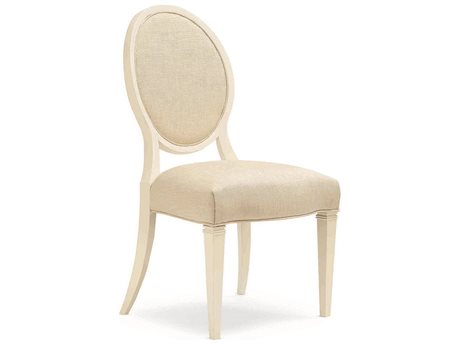 Caracole Classic Ivory Shimmer Round Back Dining Side Chair (Set of 2) (OPEN BOX)