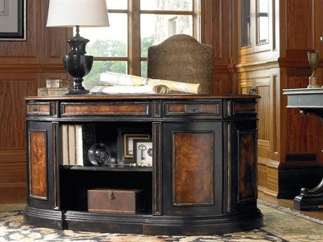 Hooker Furniture Grandover Black with Gold Accents 60''L x 30''W Demilune Executive Desk (Open Box) OBX502910460OPENBOX