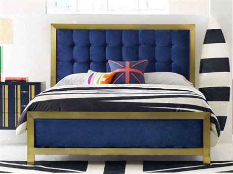 Hooker Furniture Cynthia Rowley Indigo With Gold Plated California King Panel Bed (OPEN BOX)