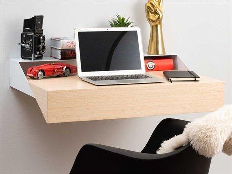 Orange22 Hideaway White / Rift Oak 32''W x 17''D Computer Desk O2XINWDWHTRIFT
