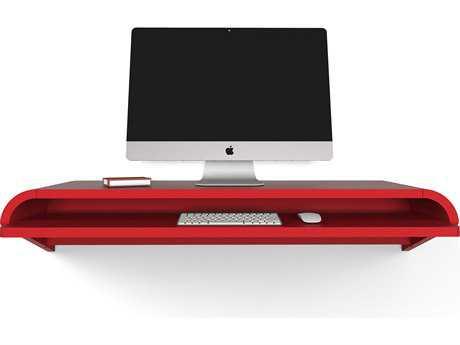 Orange22 Minimal Satin Orange Red 51''L x 16''D Rectangular Large Wall Mounted Desk with Pull-Out Drawer O2MINWDREDLRG