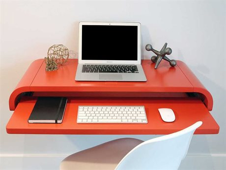 Orange22 Minimal Satin Orange Red 36''L x 16''D Rectangular Small Wall Mounted Desk with Pull-Out Drawer O2MINWDREDSML