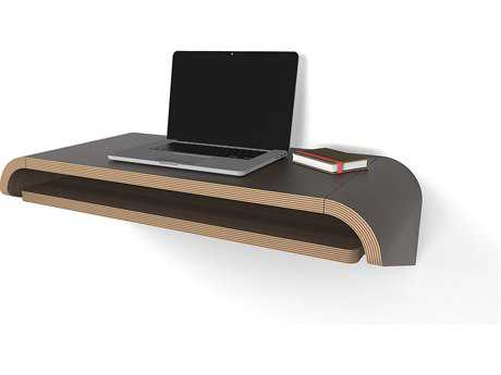 Orange22 Minimal Walnut 36''L x 16''D Rectangular Small Wall Mounted Desk with Pull-Out Drawer O2MINWDWALSML