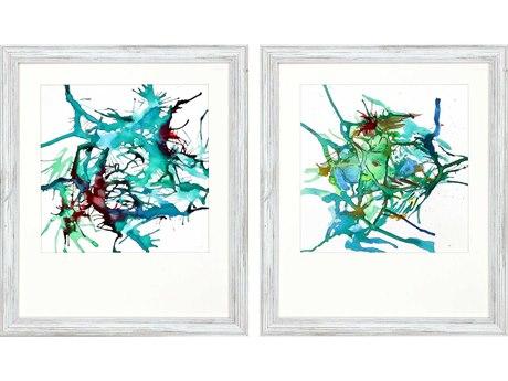 Paragon Abstract Aqua Burst-I Canvas Wall Art (Set of 2)