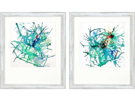Paragon Abstract Aqua Burst-II Canvas Wall Art (Set of 2)
