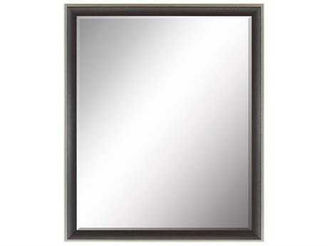 Paragon Beveled 25 X 31 Dark Brown Wood Antique Silver Edge Wall Mirror Pad8022