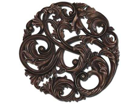 Paragon Aged Copper Leaf Swirl Wood Wall Art