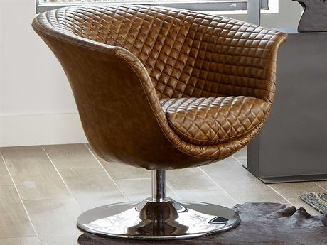 Phillips Collection Brown Swivel Accent Chair