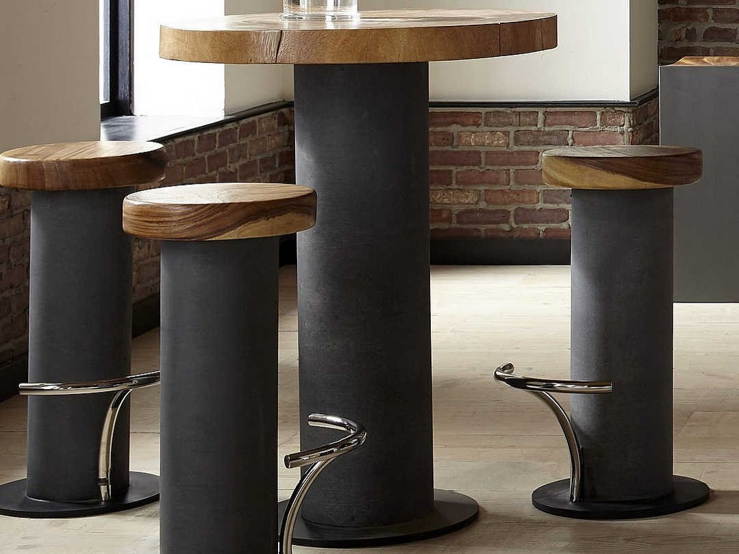 Picture of: Phillips Collection Grey Brown 32 Wide Round Bar Height Dining Table Phcth78367