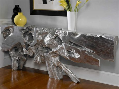 Phillips Collection Cast Naturals Silver Leaf 80'' Wide Console Table