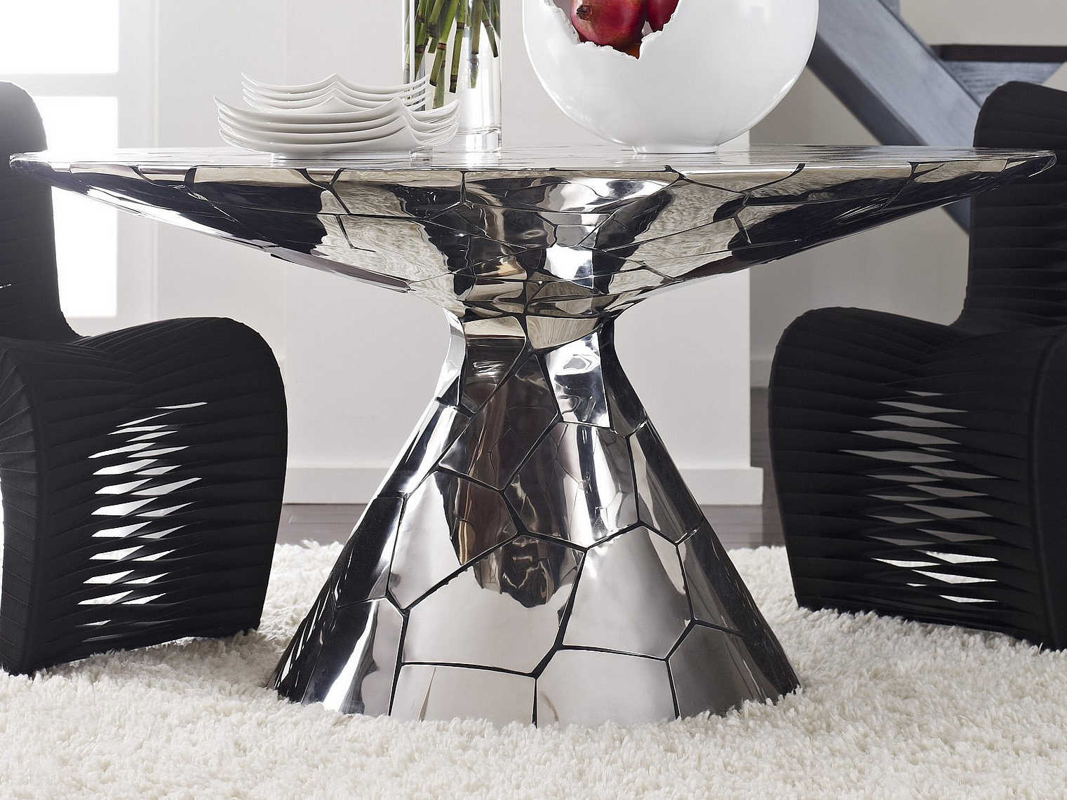 Phillips Collection Crazy Cut Silver 56 Wide Round Dining Table