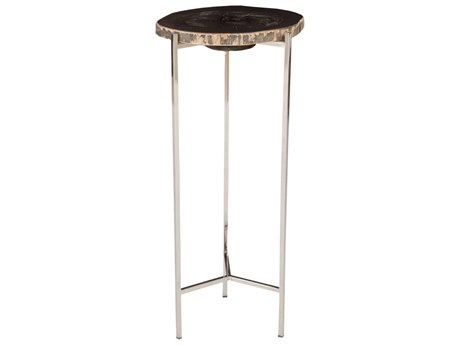 Phillips Collection Petrified Black 13'' Wide Round End Table