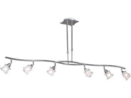 PLC Lighting Avatar Satin Nickel 53'' Wide Six-Light Island Light PLC6073SN