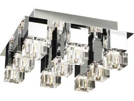 PLC Lighting Charme Polished Chrome 21'' Wide Nine-Light Flush Mount Light PLC81238PC