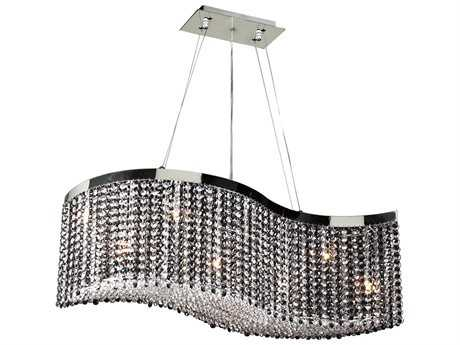 PLC Lighting Clavius - I Polished Chrome 36'' Wide Eight-Light Halogen Island Light PLC66010PC