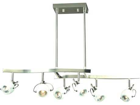 PLC Lighting Focus Satin Nickel 32''Wide Six-Light Island Light PLC5356SN