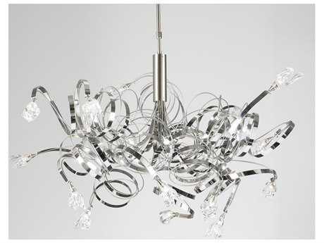 PLC Lighting Ribbon Satin Nickel 48'' Wide 16-Light Halogen Chandelier PLC6046SN